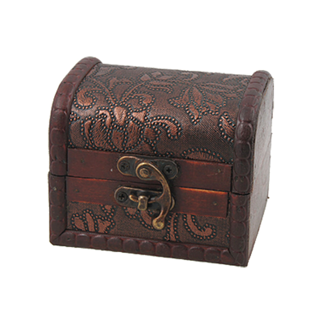 Decorative Buckle Flower Embossed Craft Wooden Jewelry Box