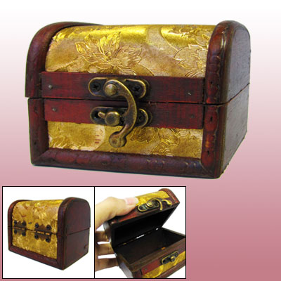 Household Wooden Retro Style Mini Embossed Workmanship Ornament Jewelry Box