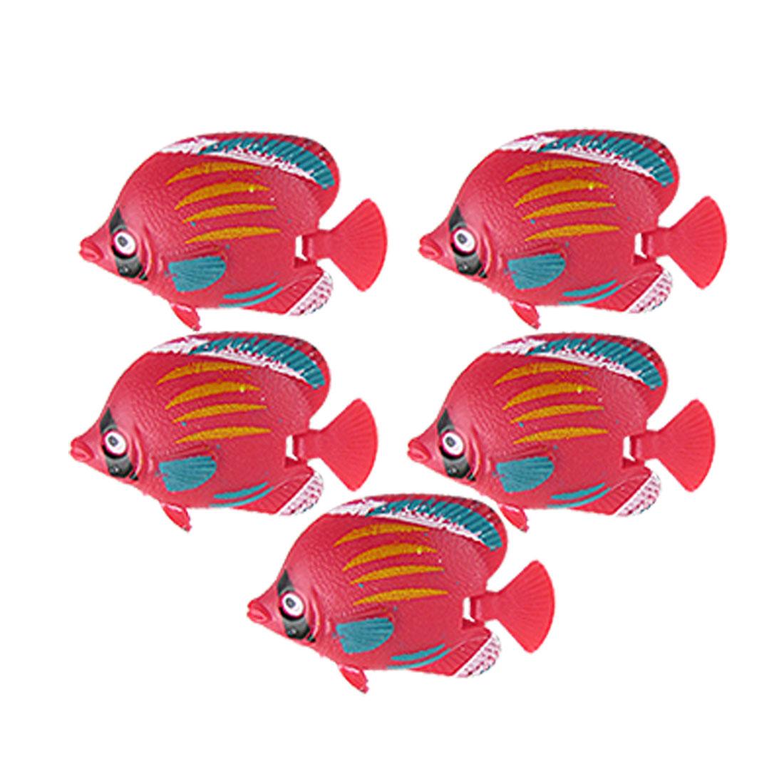 5 PCS Mini Red Plastic Tropical Fish Aquarium Floating Ornament Decor