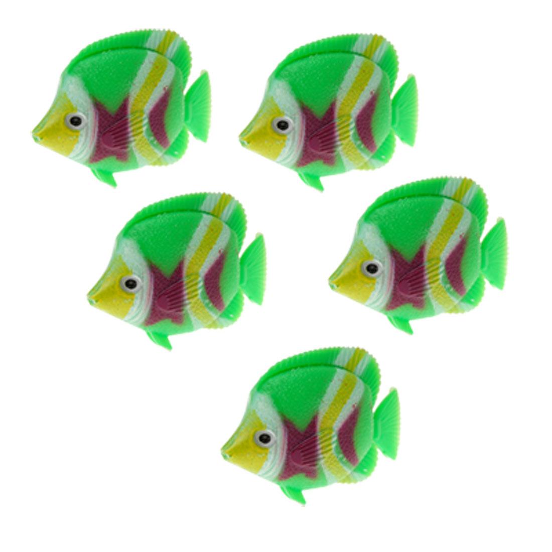 5 PCS Green Plastic Tank Fish Aquarium Floating Ornament Decor