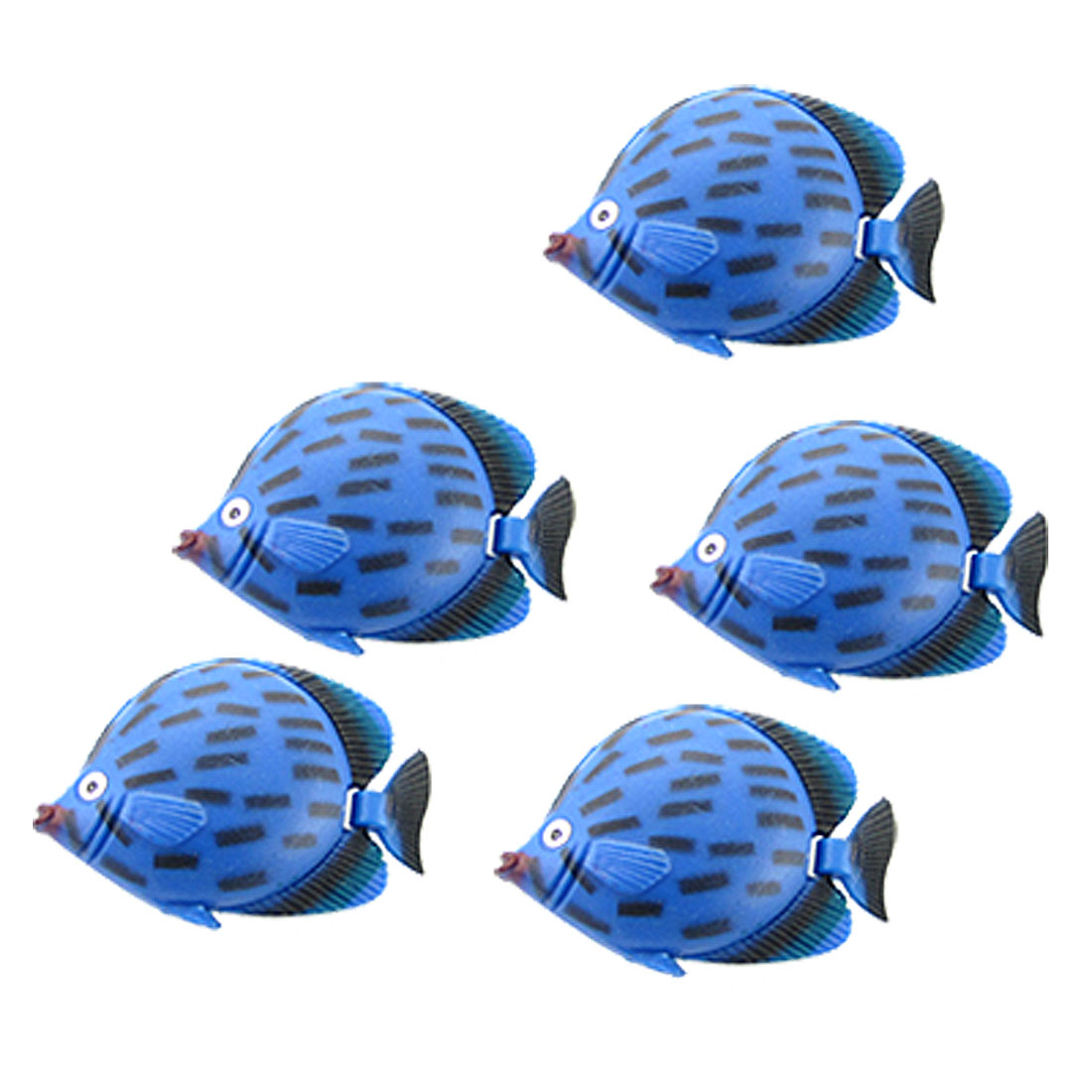 5pcs Blue Vivid Plastic Fish Aquarium Fish Tank Decor Ornament