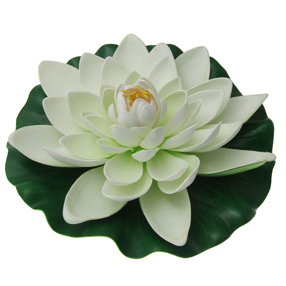 Foam White Lotus Green Base Ornament Decor for Aquarium