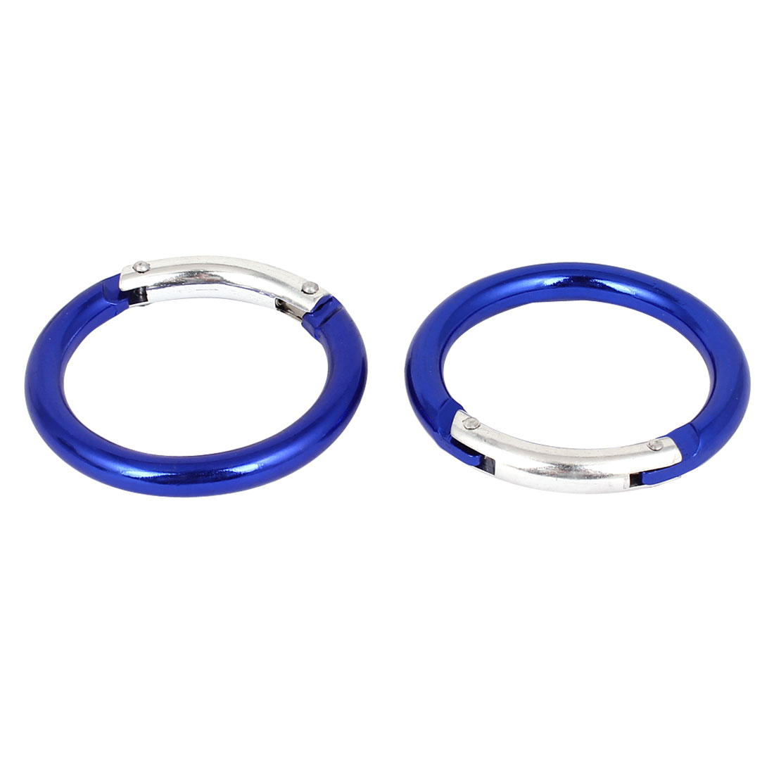 Outdoor Activitie Pratical Metal Round Shaped Portable Carabiner Blue 2pcs