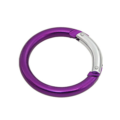 Useful Metal Hook Round Shaped Carabiner Purple 2pcs