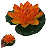 Orange Man-made Foam Lotus Green Leaf Fish Tank Decor Ornament