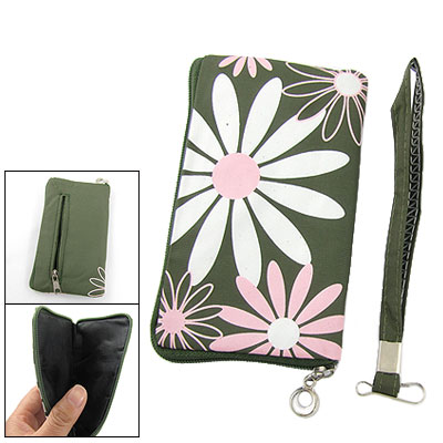 Flower Print Phone Purse Zipper Bag Pouch for Cell Phone