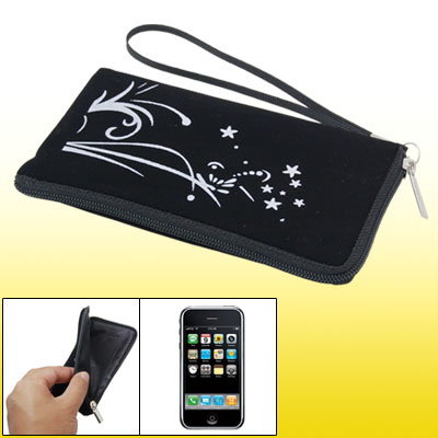 Soft Black Purse Flower Bag Pouch for Cell Phone