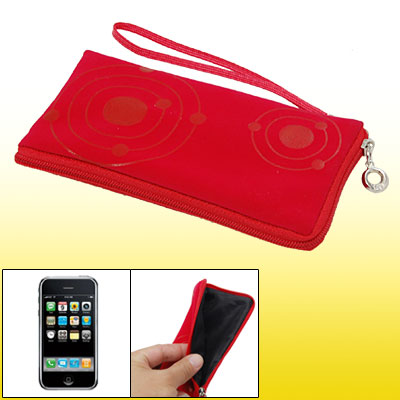 Women Red Makeup Purse Bag Soft Pouch for Cell Phone