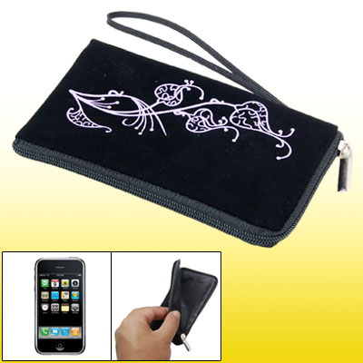 Black Phone Purse Soft Flower Bag Pouch for Cell Phone