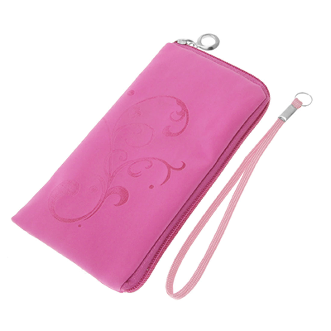 Zipper Fuchsia Purse Makeup Bag Phone Soft Pouch for Cell Phone