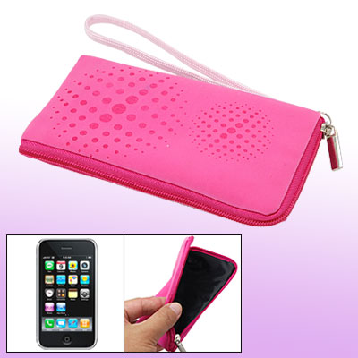 Zipper Pink Purse Bag Phone Soft Dot Pouch for Cell Phone