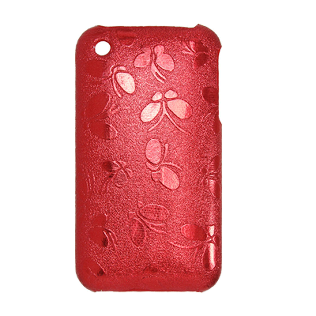 Red Plastic Butterfly Case + Screen Guard for iPhone 3G