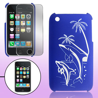 Blue Rubberized Hard Plastic Back Protector for iPhone 3G