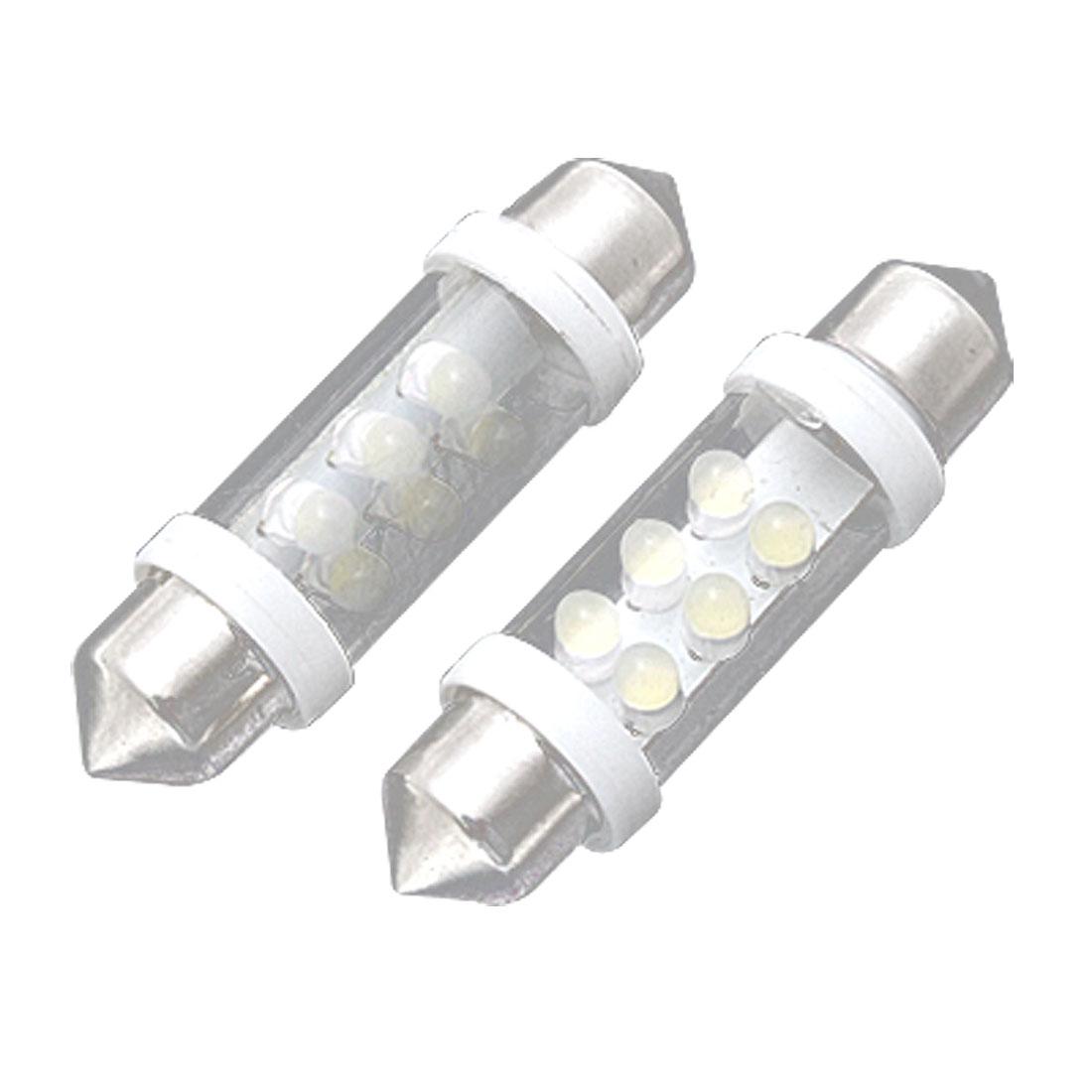 2 Pcs Car White 6 LED Festoon Dome Map Light License Plate Bulbs 41mm