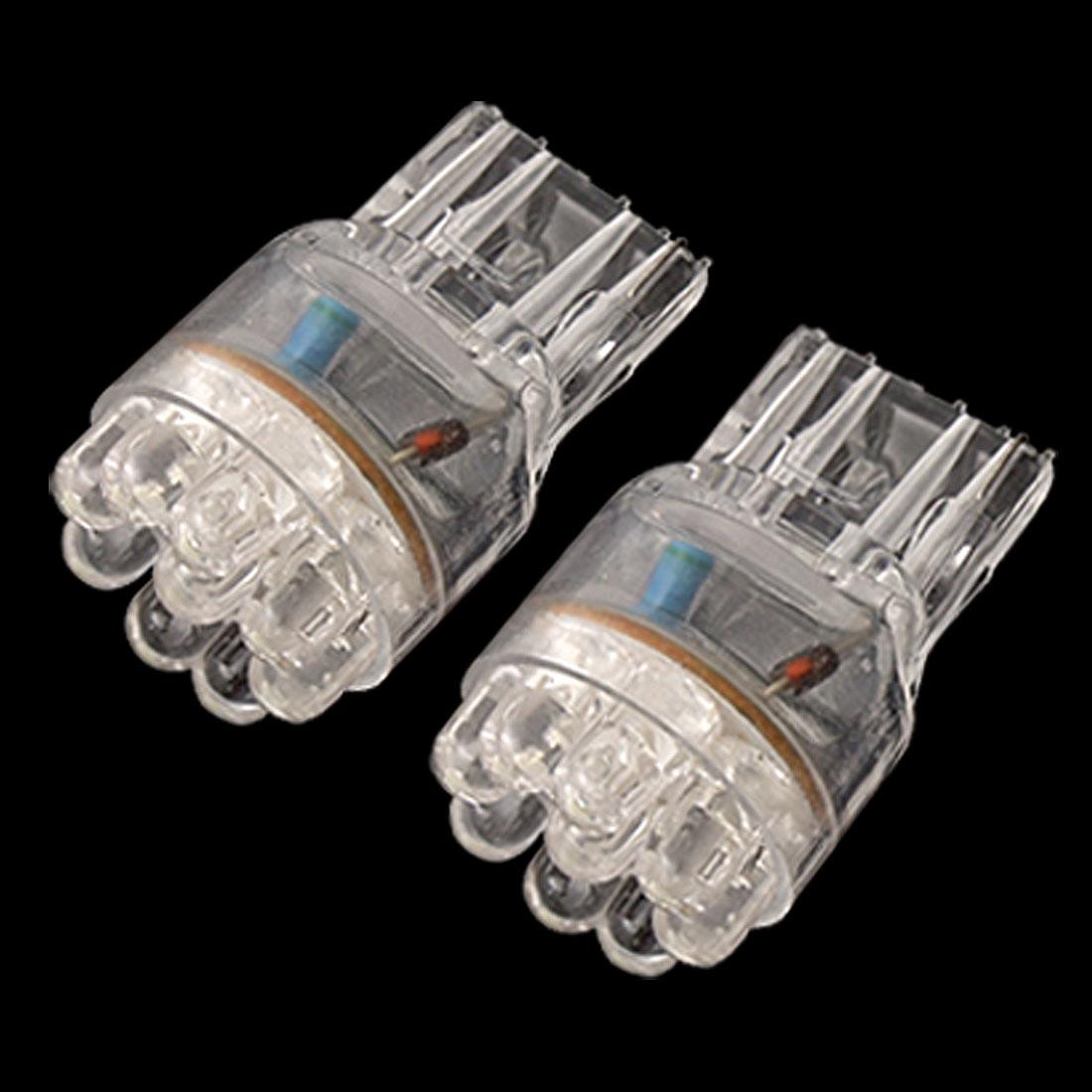 2 Pcs T20 Auto Turn Rear Bulb White 9 LED Backup Stop Light