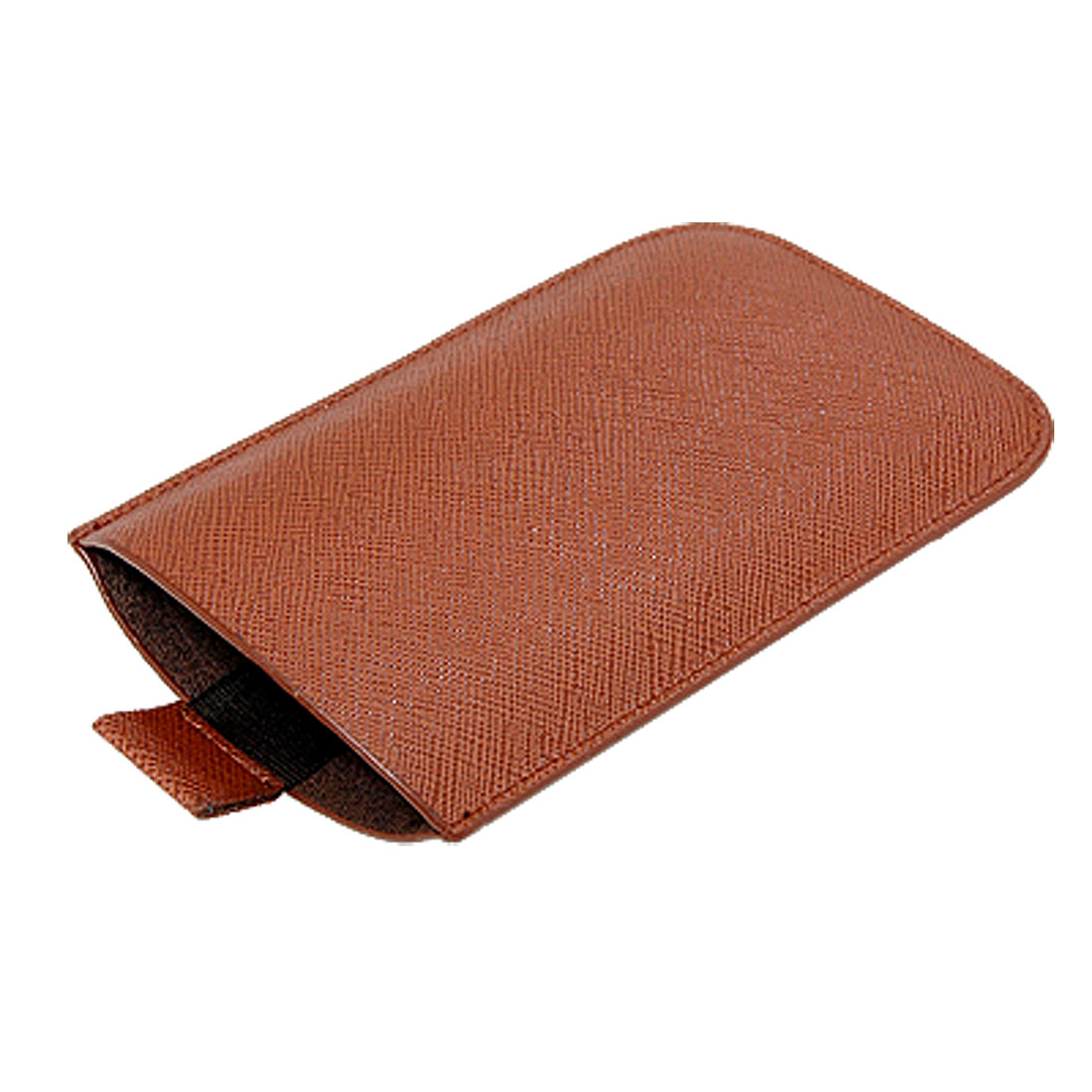 Brown Textured Faux Leather Pull Bag Pouch for iPhone 3G