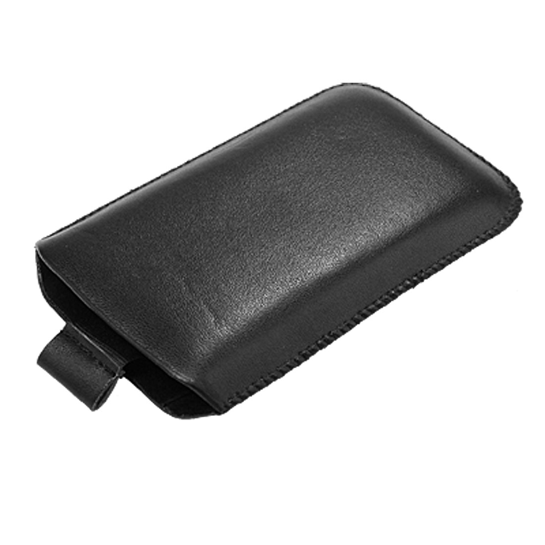 Pull Out Black Faux Leather Pouch Bag for iPhone 3G