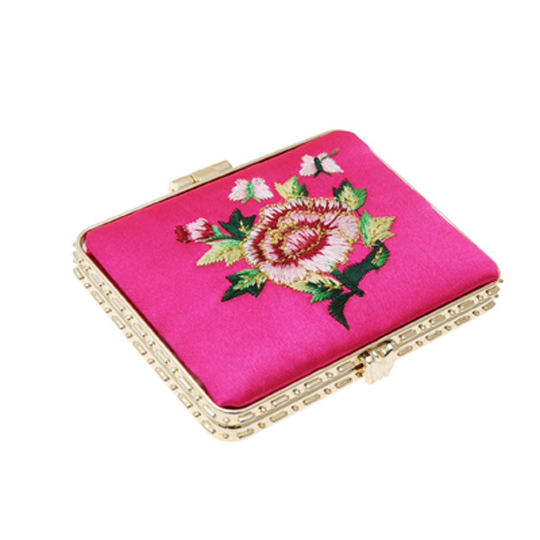 Magenta Artificial Silk Coat Floral Rectangle Pocket Mirror