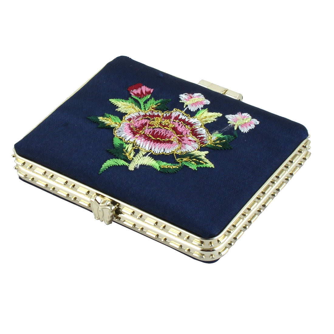 Lady Rectangle Flowered Decor Chinese Make Up Mirror Beauty Tool Navy Blue