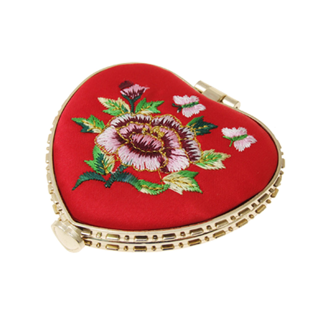 Heart Shaped Floral Lady Pocket Mirror Butterfly Buckle