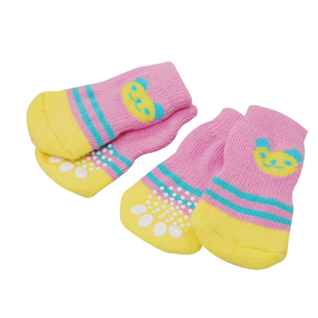 4 PCS Pet Dog Nonskid Pink Yellow Soft Size L Socks