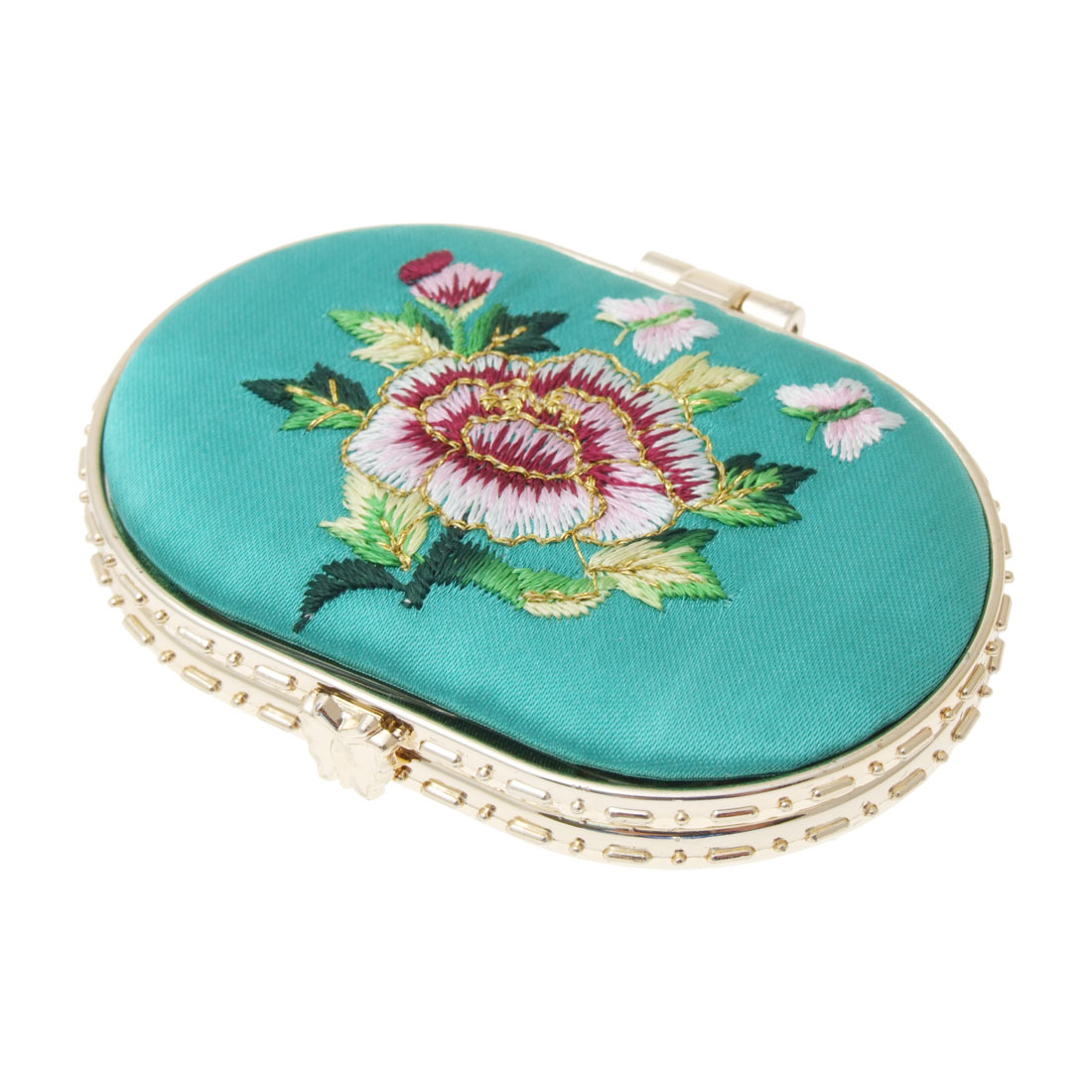 Oval Golden Tone Frame Exquisite Lady Cosmetic Mirror
