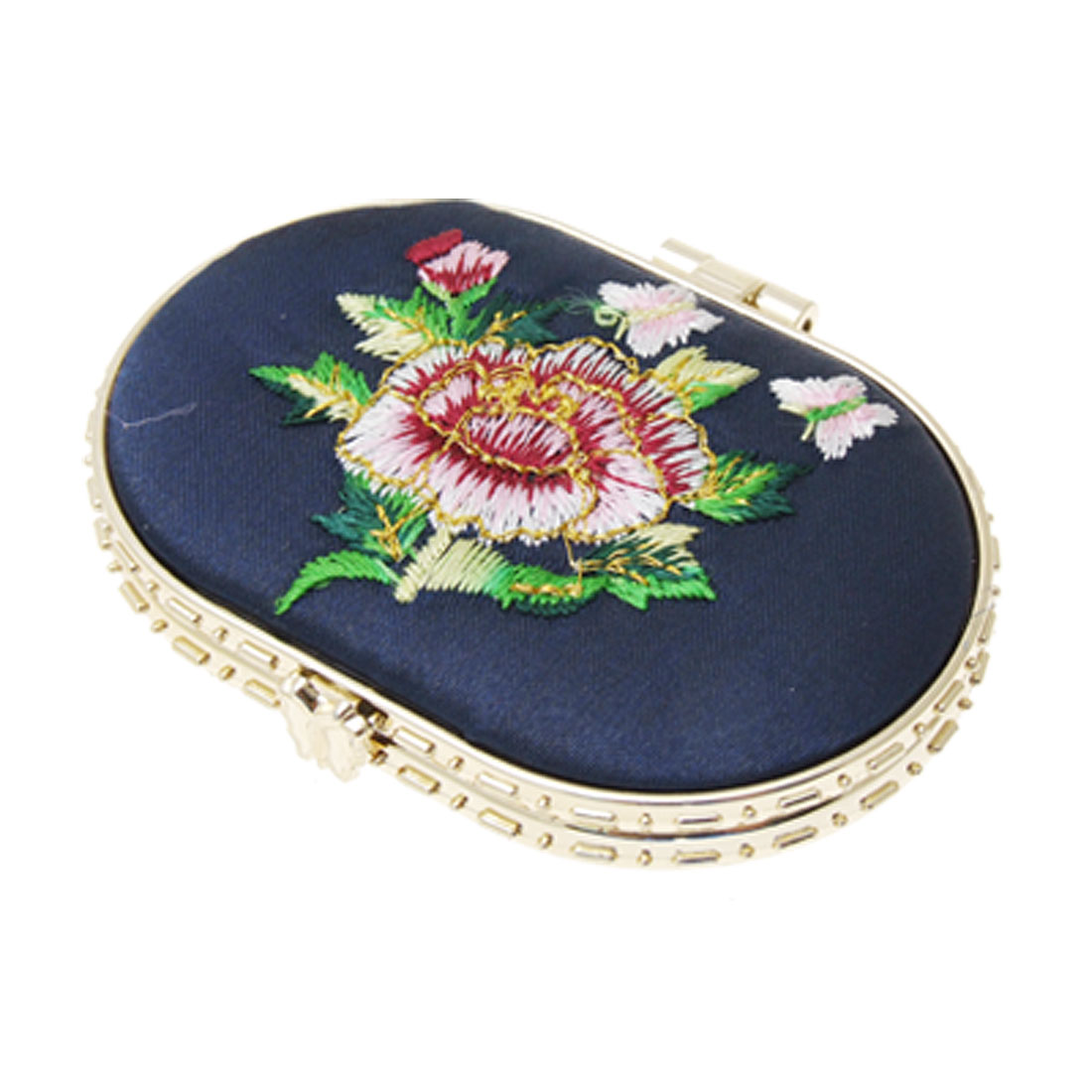 Oval Navy Blue Embroidered Flower Lady Cosmetic Mirror