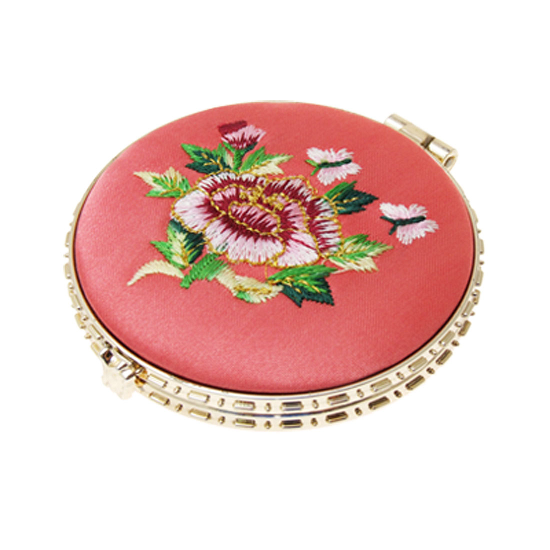 Salmon Pink Round Folded Lady Girl Makeup Decor Mirror