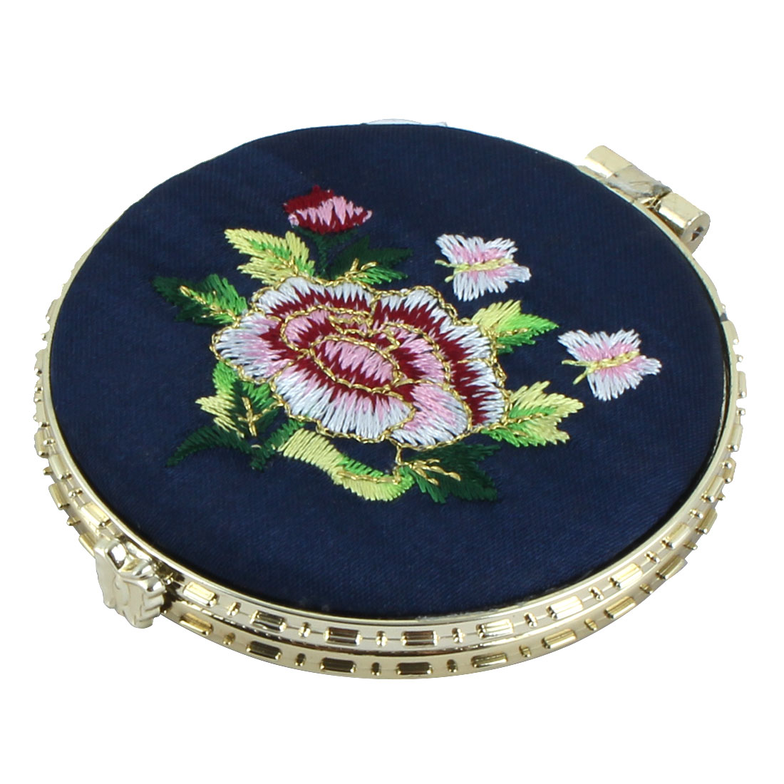 Lady Round Shape Dual Sides Folding Frame Cosmetic Compact Mirror Navy Blue