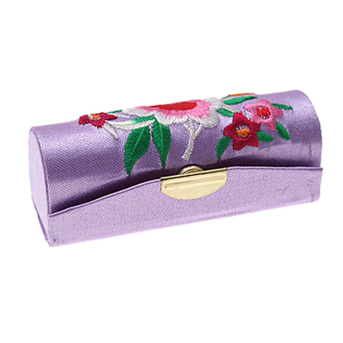 Purple Chinese Tradition Embroider Flower Lipstick Box