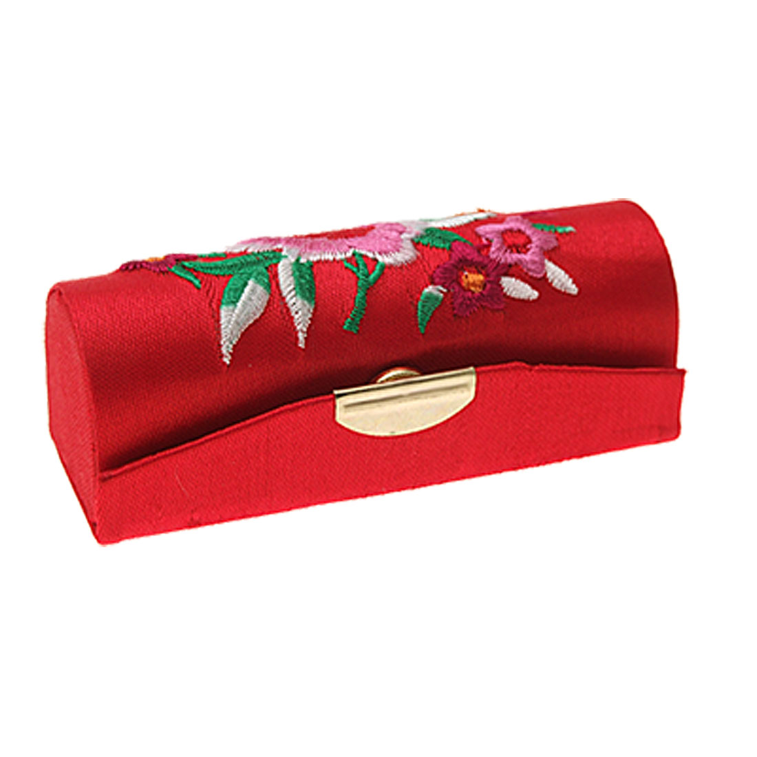 Red Embroider Flower Chinese Classic Hard Lipstick Box