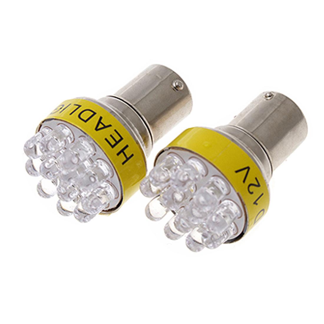 2 Pcs 1156 BA15S 12 LED Car Indicator Turn Tail Light Lamp Bulb Yellow