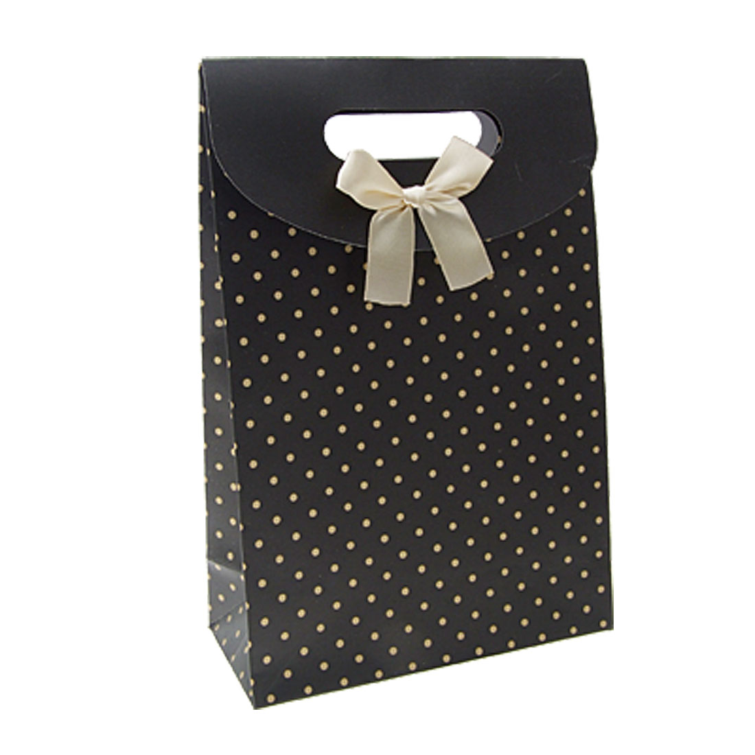 Satin Bowknot Dot Pattern Chic Black Gift Paper Bag