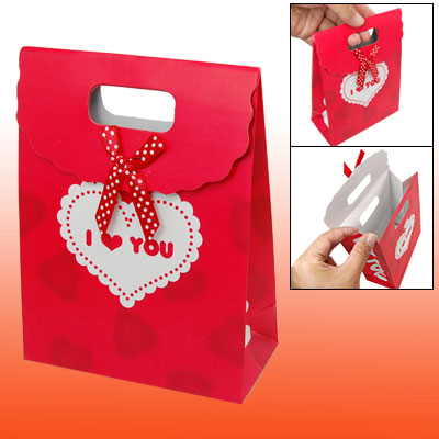 Valentine Gift Favor Heart Pattern Red Paper Bag