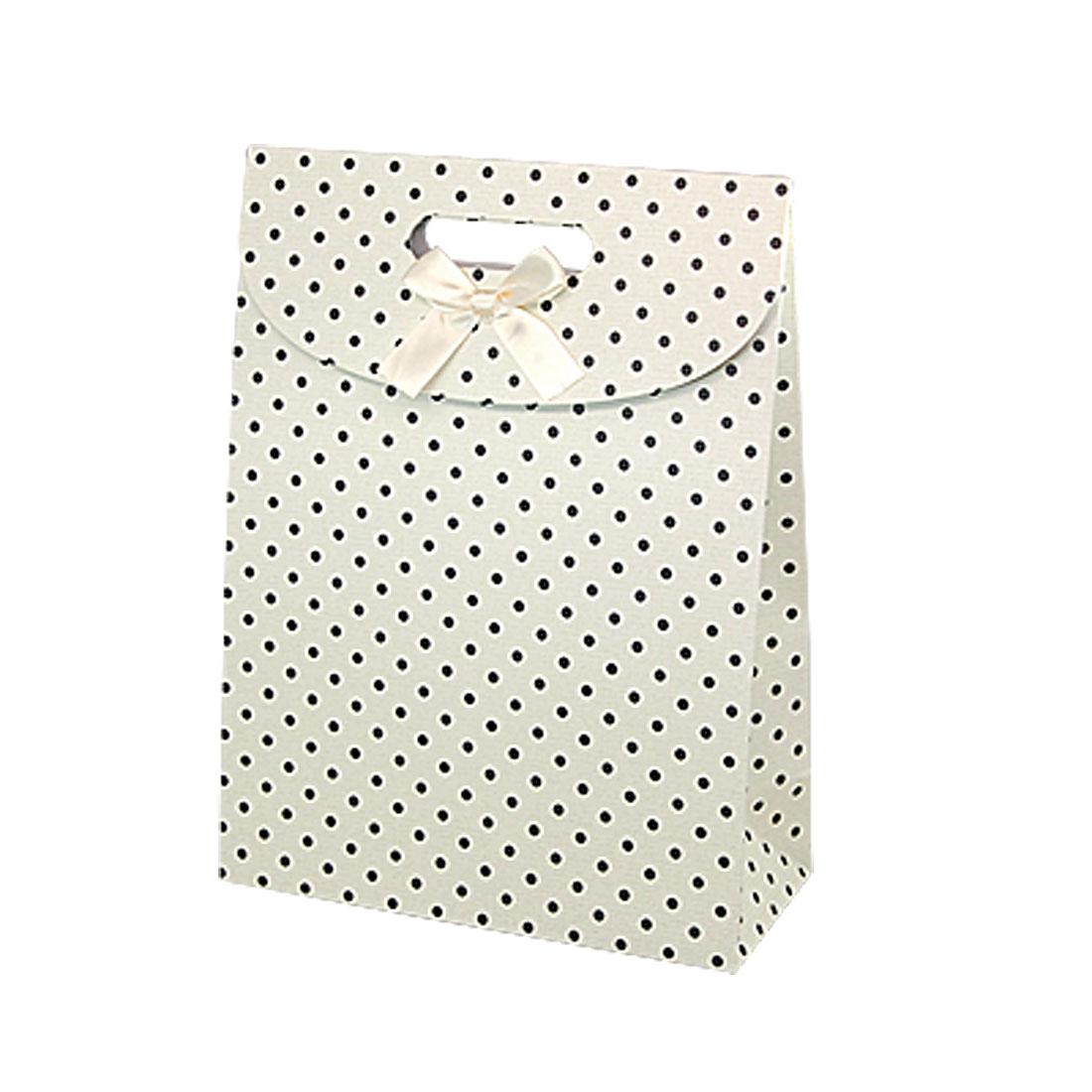 Black Dots Print Off White Handle Cut Large Paper Bag 2pcs
