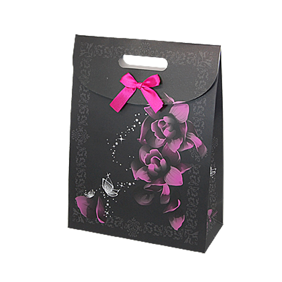 Purple Flower Print Valentines' Gift Black Paper Bag