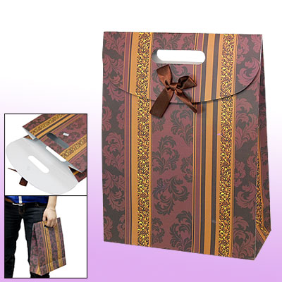 Brown Satin Bowknot Hook and Loop Fastener Closure Elegance Gift Paper Bag