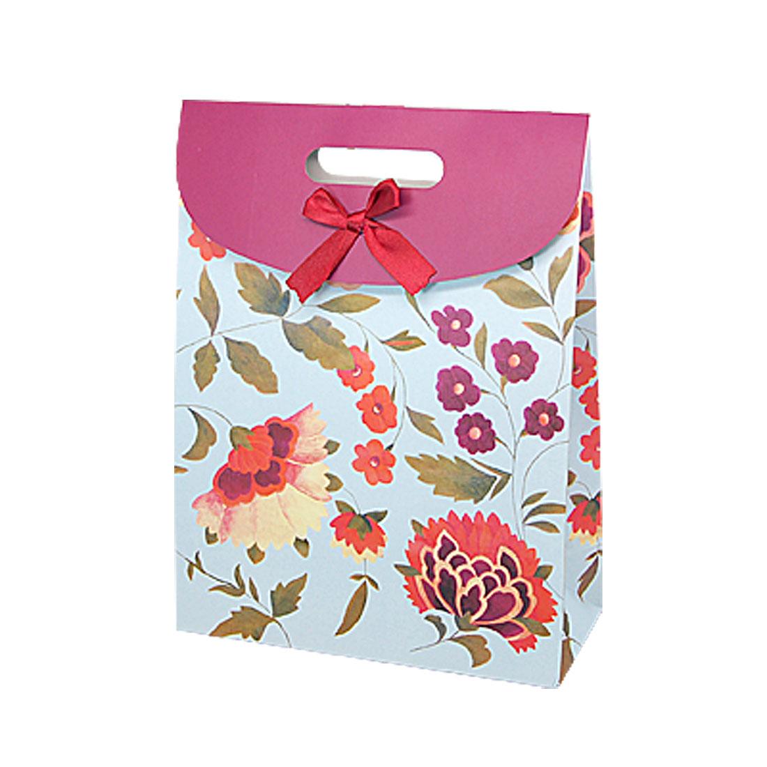 Beautiful Flower Pattern Satin Bowknot Decor Paper Bag