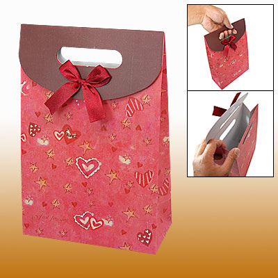 Star Heart Pattern Design Flat Bottom Gift Paper Bag