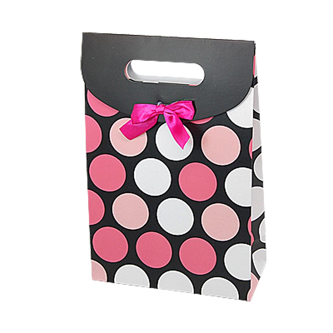Circle Pattern Black Handle Cut Carrying Paper Bag