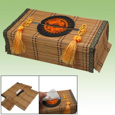 Household Bamboo Handmade Tissue Paper Slats Storage Holder Box Cover