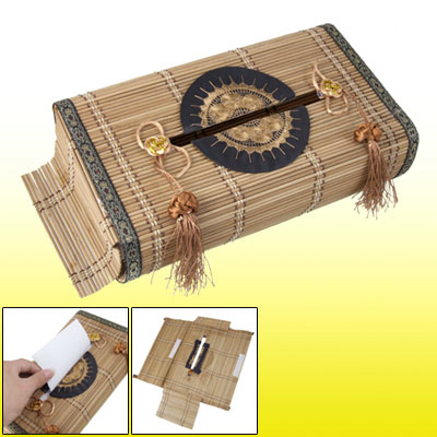 Family Living Room Bamboo Handmade Slats Tissue Paper Holder Box Cover