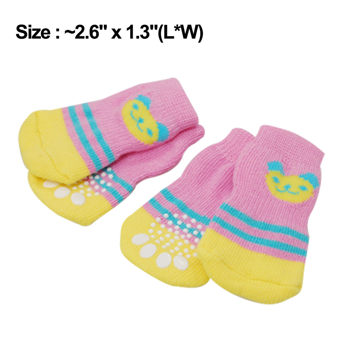 4 PCS Pet Dog Soft Yellow Pink Warm Socks w Bear Pattern