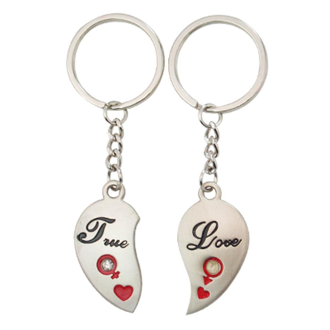 Half Heart Pendant 2pcs Lovers Keyring Keychain