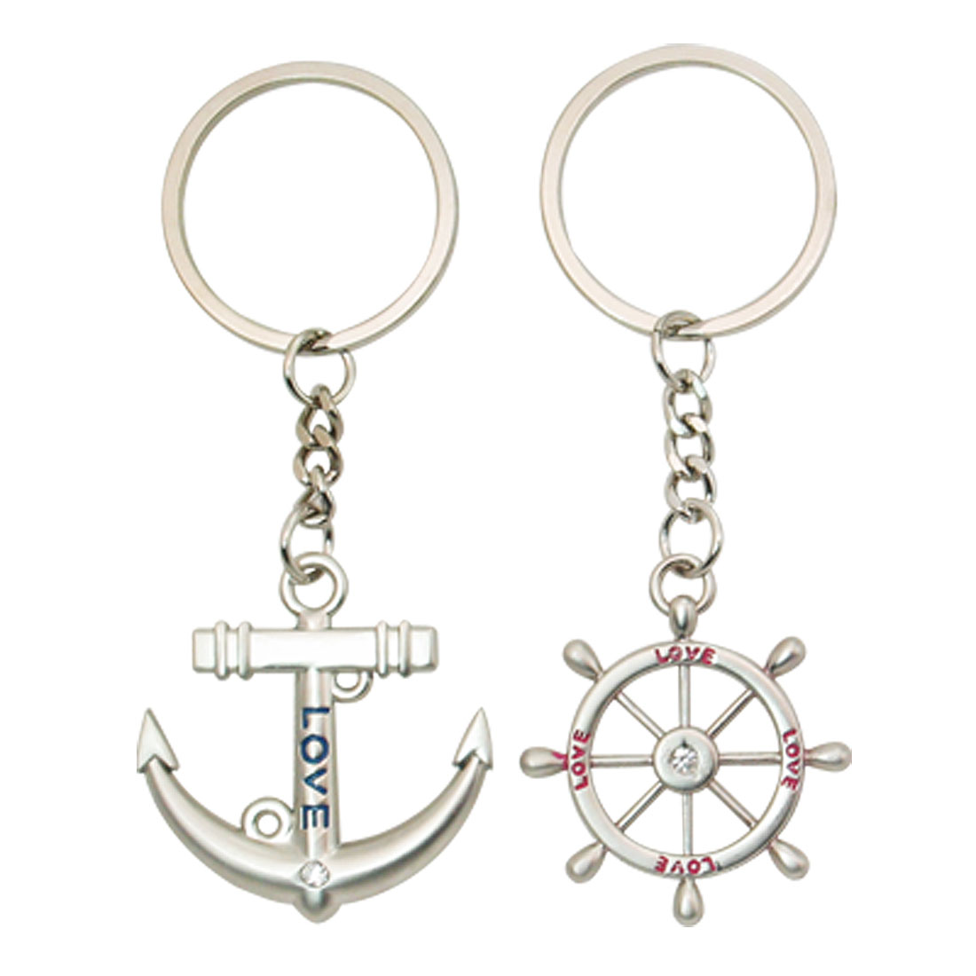2pcs Allow Sky Wheel Pendant Key Ring Key Chain Silver Tone