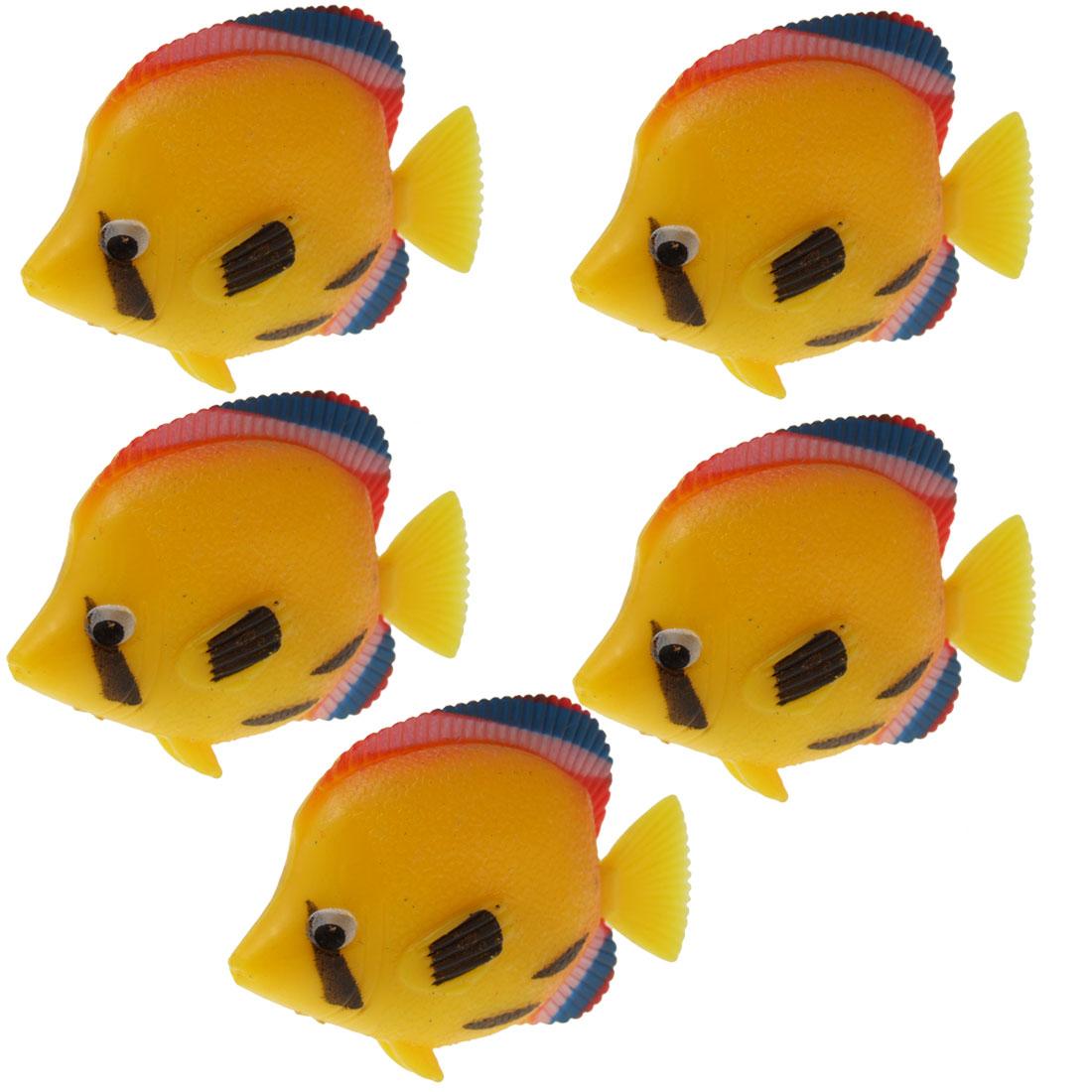 5 PCS Aquarium Tank Plastic Lifelike Yellow Floating Fish