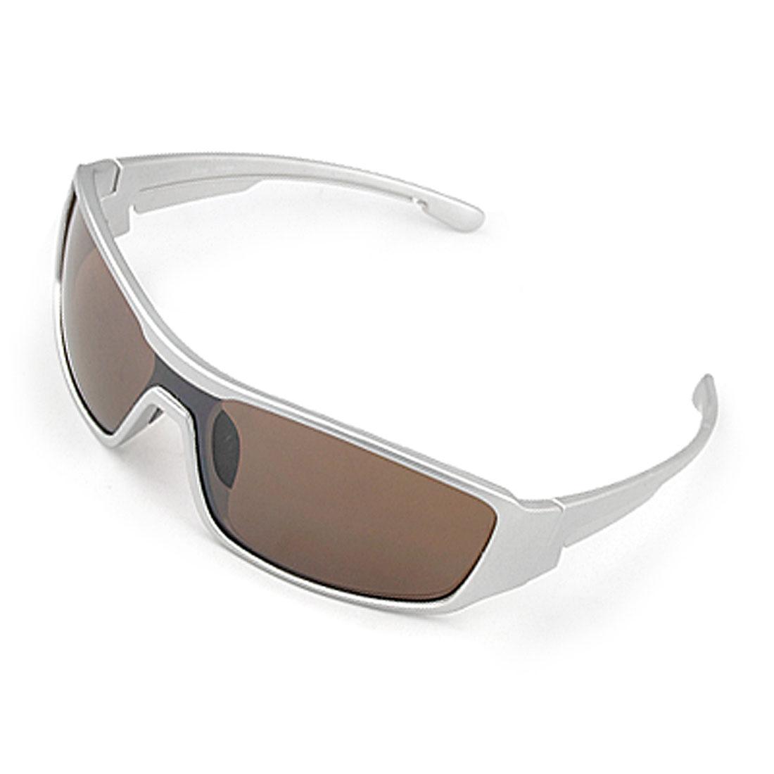 Black Nose Pad Silver Tone Plastic Frame Big Lens Unisex Sunglasses