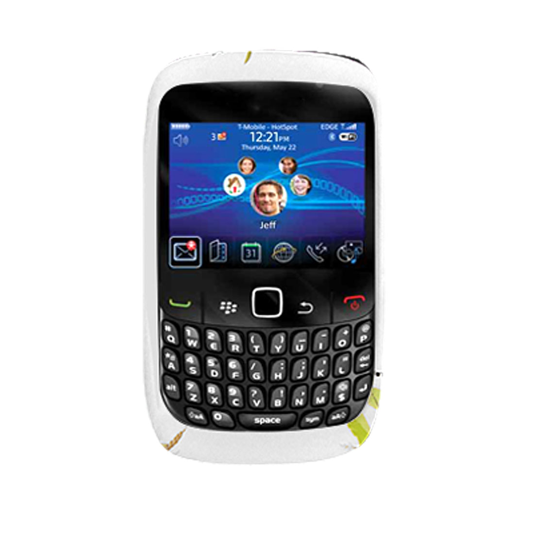 Floral Soft Plastic Cover White Shell Case for Blackberry 8520