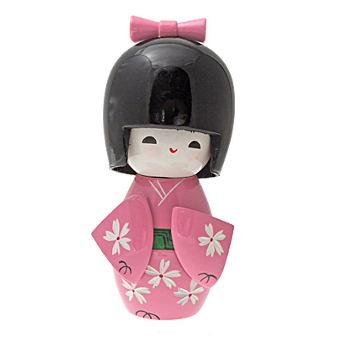 White Flower Pink Kimono Wood Japanese Kokeshi Doll Ornament