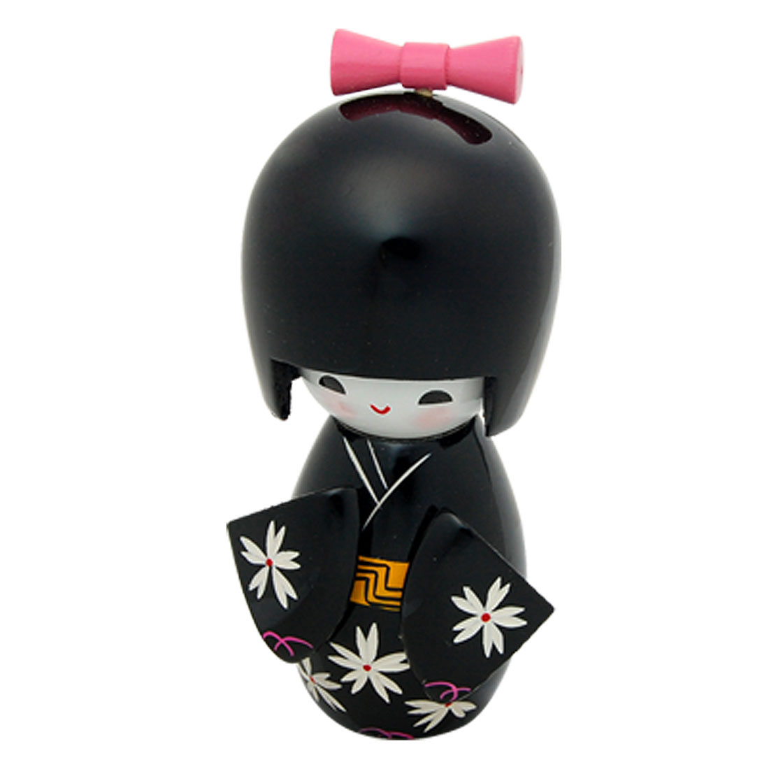 Lovable Girl in Black Kimono Kokeshi Wooden Doll Toy